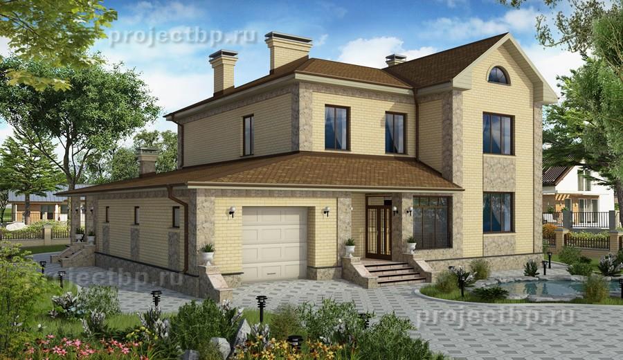 Проект светлого двухэтажного дома с гаражом  235-D